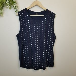 J. Crew Navy Stacked Sequin shell